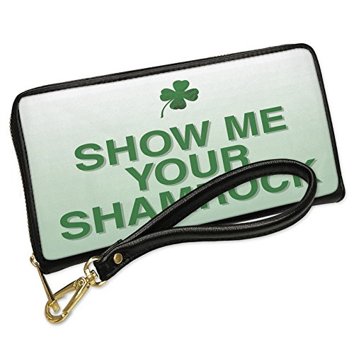 Wallet Clutch Show Me Your Shamrocks St. Patrick's Day Clover Fade with Removable Wristlet Strap Neonblond by NEONBLOND