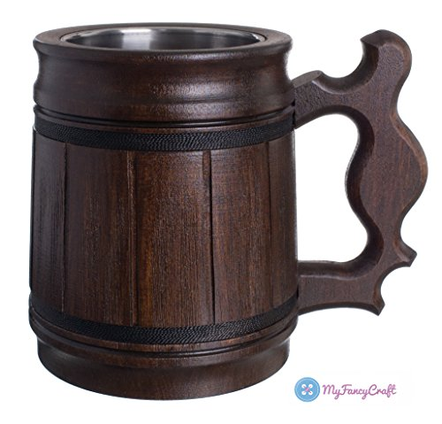 Barrel Stein - Handmade Beer Mug Oak Wood Stainless Steel Cup Gift Natural Eco-Friendly 0.3L 10oz Classic Brown