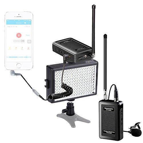 Saramonic Wireless VHF Lavalier Microphone Bundle with LED Light for (Lavalier Pro 88w Vhf Wireless)