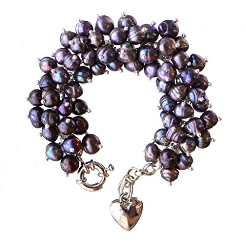 (Peacock Blue 8-9mm Baroque Off Round Cultured Freshwater Pearl Cluster Bracelet 7