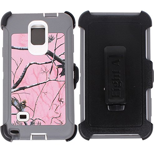 Galaxy Note 4 Case,Heavy Duty Defender Impact Rugged with Built-in Screen Protector Camouflage Case Cover for Samsung Galaxy Note 4 (Pink-Tree-Camo)