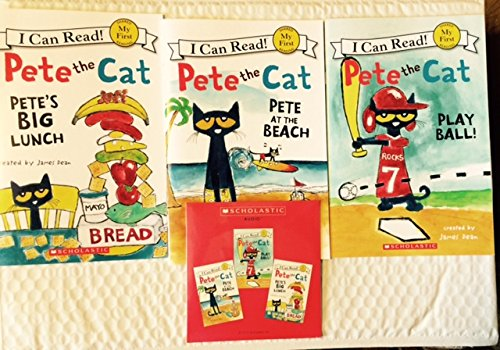 Pete the Cat Set of 3 Paperback Books and Read Along Cd Includes Pete At the Beach, Pete's Big Lunch & Play Ball! By ()