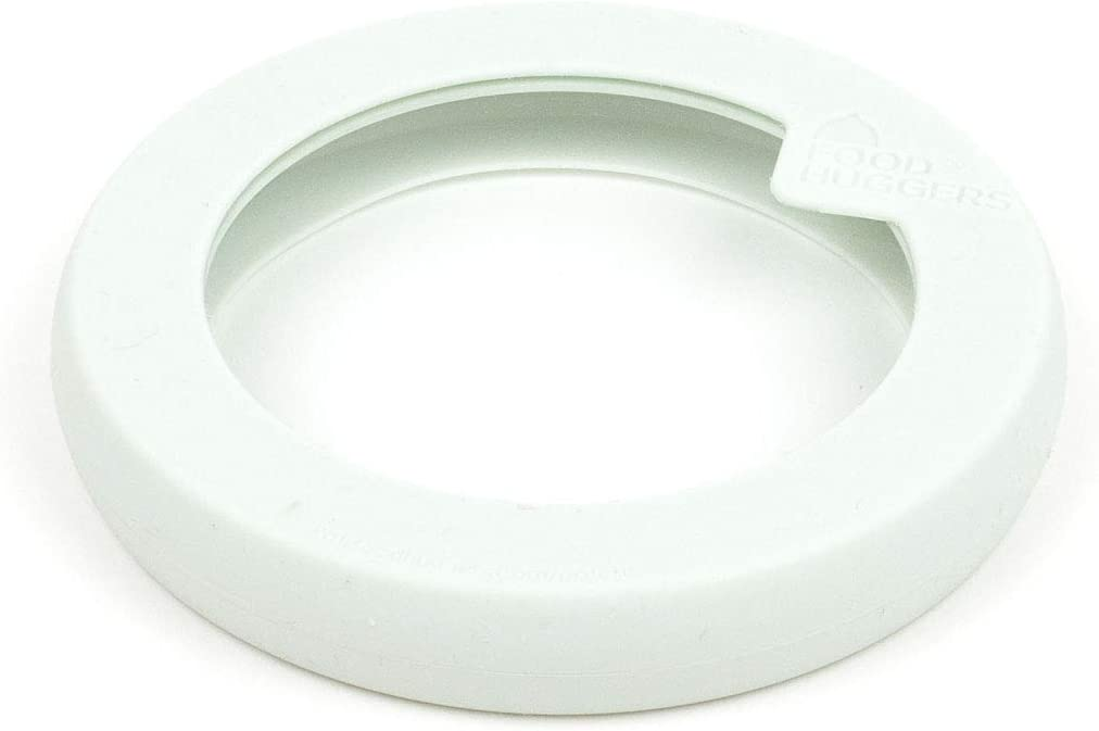 Food Huggers Flexible Stackable Silicone & Glass Bowl Lid (XS, WHITE)