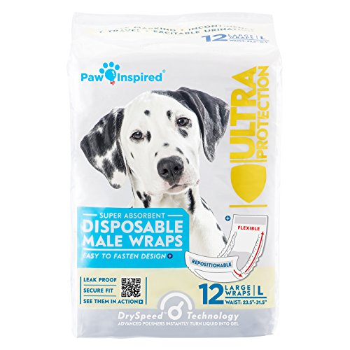 Paw Inspired Ultra Protection Disposable Male Wraps Bulk, Large