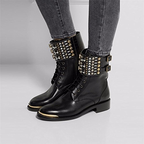 Chaussures NVXIE Femmes Cuir Bottes Court Printemps Automne Noir Hiver Cheville BLACK Pointu Plat EUR43UK9 CfXnwrdfxq