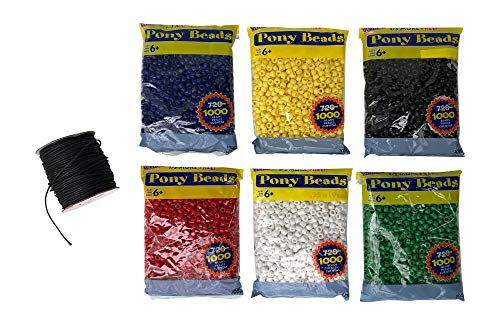 Wordless Bracelet Kit- Black, White, Red, Green, Yellow, Blue Plastic Beads-6 Pack- 9mm Opaque 1,000 Count Each- 100 Yards Waxed Cotton Thread Cord