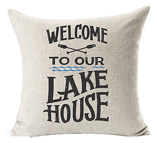 (Andreannie Welcome to Our Lake House Cotton Linen Throw Pillow Cover Cushion Case Home Decorative Square 18X18 inches (B) ¡­)