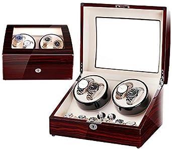 Enrollador de Reloj automático de Madera cuádruple, 5 Cajas de Almacenamiento de Temporizador de Modo para 4 Relojes Función para Relojes de Pulsera Colección de Pulseras de joyería (Color : C): Amazon.es: Relojes
