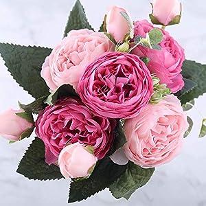 Flores artificiales para Centro de mesa-Vintage Artificial Peony Silk Flowers Bouquet Home Wedding Decoration,Peonias artificiales,faix Peonies (Pink Red) 102