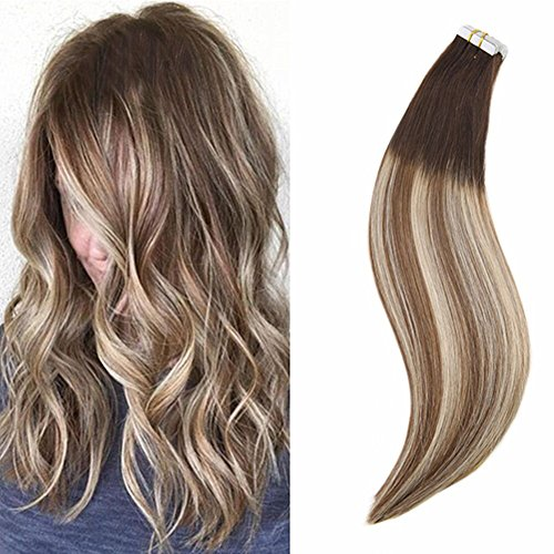 Ugeat 18inch Dip Dye Tape Real Hair Extensions Balayage Ombr