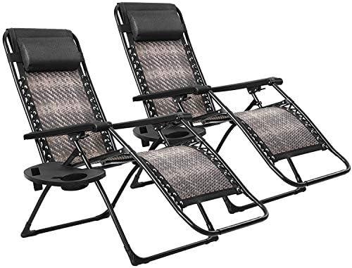 Patiomore Outdoor Zero Gravity Wicker 2-Pack Padding Chair