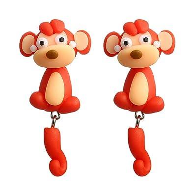 e64cc0b43634 Aretes de Mono Pendientes de Animal Aretes de Mujer de Dibujos Animados  Retro de los Hombres el Accesorios de Joyería Boda de el Aniversario Aretes   ...