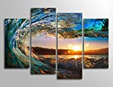 yearainn Ocean Canvas Art Waves Sunset Wall Decor - Canvas Prints Large Modern Artwork Nature Pictures Surfing for Home Decoration