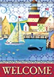 Lighthouse Sailboat Harbor Welcome Double Sided House Flag 28 x 40