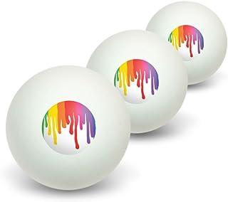 Graphics and More Rainbow Peinture d'égouttement–Pride Couleurs d'encre fantaisie Balles de ping-pong Lot de 3