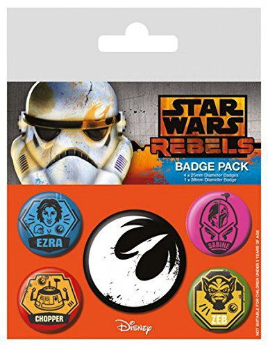 Set: Star Wars, Rebels, 1 X 38mm & 4 X 25mm Badges Badge Pack (6x4 inches) And 1x 1art1 Surprise Sticker
