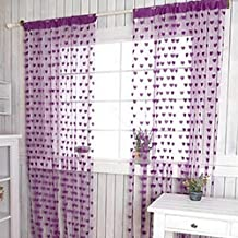 Norbi Sweet Heart Design Window Curtains Tassels Door Room Divider String Blinds Curtains (Purple)