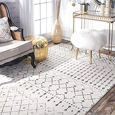 "nuLOOM Moroccan Blythe Area Rug, 5' x 7' 5"", Grey/Off-white - Made in Turkey PREMIUM MATERIAL: Crafted of durable synthetic fibers, it has soft texture and is easy to clean SLEEK LOOK: Doesn't obstruct doorways and brings elegance to any space - living-room-soft-furnishings, living-room, area-rugs - 51fYsfS72xL. SS400  -"