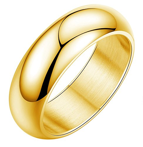 7mm Plain Band Ring (Tupai Womens Mens 7MM Stainless Steel Classic Plain Wedding Band Ring Polished Charm Gold Size 7-13 (7))