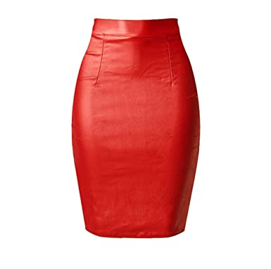 c6aa2bf186 YiLianDa Womens Faux Leather Ladies Bodycon Stretch Wet Look Pencil Fitted Midi  Skirt 44 Red: Amazon.co.uk: Clothing