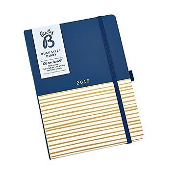 Busy B - Agenda 2019 semana vista con bolsillos y doble horario de actividades, diseño de rayas, A5