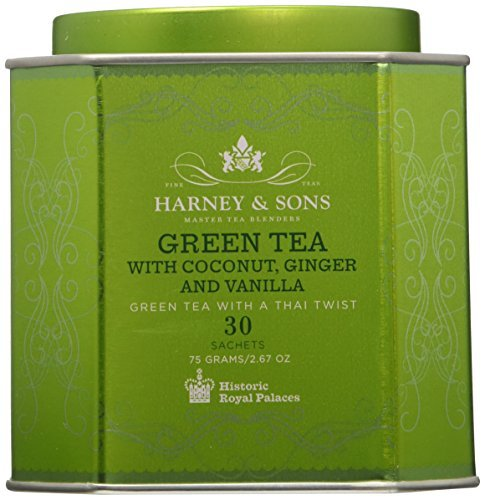 Harney & Sons Green Tea with Coconut, Ginger, and Vanilla Tea Tin - Green Tea with a Thai Twist - 2.67 Ounces, 30 Sachets - Harney And Sons Green Tea Tea