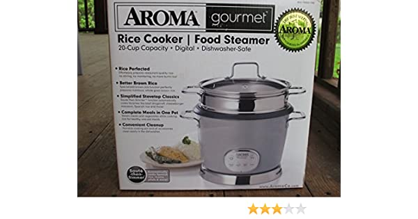 Amazon.com: Aroma Gourmet 20 Cup Digital Rice Cooker & Food Steamer: Aroma Rice Cooker Stainless Steel: Kitchen & Dining