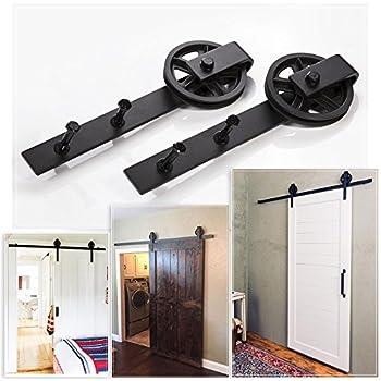 winsoon 8ft single sliding barn wood door hardware roller track kit modern cabinet. Black Bedroom Furniture Sets. Home Design Ideas