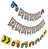 Monster Truck Birthday Banner, Cars Trucks Birthday Sign with Garland, Vehicle Boy Birthday Bunting
