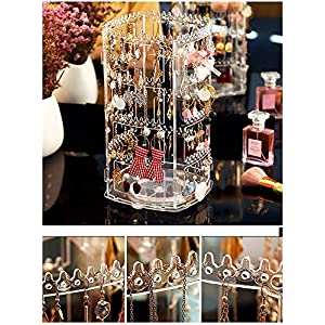 Cq acrylic 360 Rotating Earrings Holder and Jewelry Display Rack,4 Tiers Jewelry Rack Display Classic Stand,156 Holes…