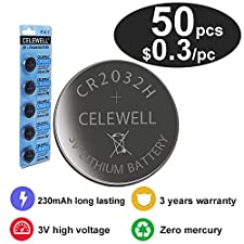 CELEWELL 50 CR 2032 3V Batteries CR2032 H 230mAh High Capacity Lithium Coin Button Cell