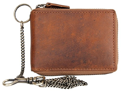 Pocket Sized Leather Wallet with Metal Zipper and Chain without Any Logos or (Logo Leather Chain Wallet)