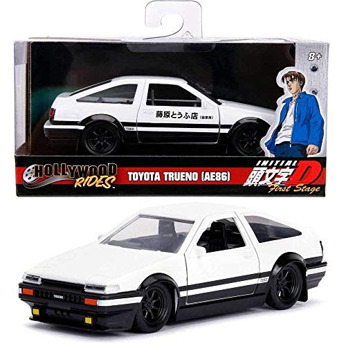 DIECAST Toys CAR JADA 1:32 W/B - Hollywood Rides - Initial D First Stage - Toyota Trueno (AE86) Black/White 99801