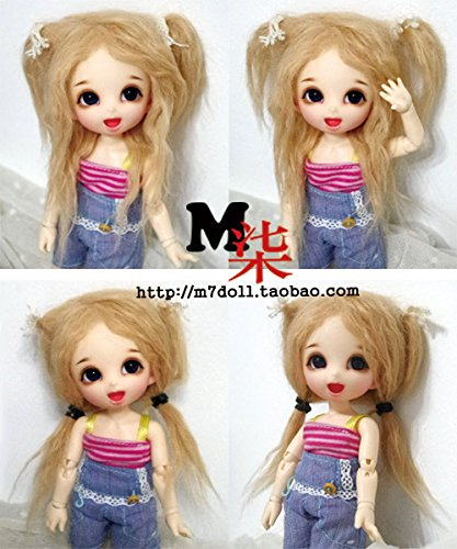 "3-4/"" 9-10cm BJD fabric fur wig Brown for AE PukiFee lati 1//12 Doll"
