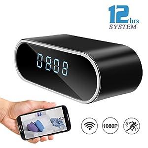 Sunsome HD 1080P Wifi Hidden Camera Alarm Clock Night Vision/Motion Detection/Display Temperature Home Surveillance Spy Cameras