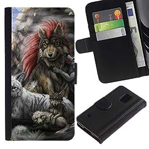 EJOY---Tirón de la caja Cartera de cuero con ranuras para tarjetas / Samsung Galaxy S5 V SM-G900 / --Familia Lobo gris