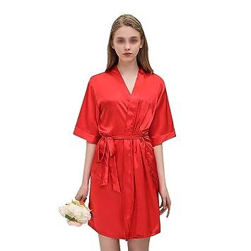 HONGNA Nueva Bata De Baño Bordado Rojo para Mujer Pijamas De Seda De Satén De Alta