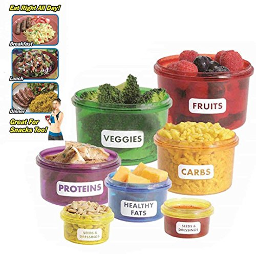 Portion Control Containers Kit 7-Piece Set Efficient Nutrition Healthy Food New