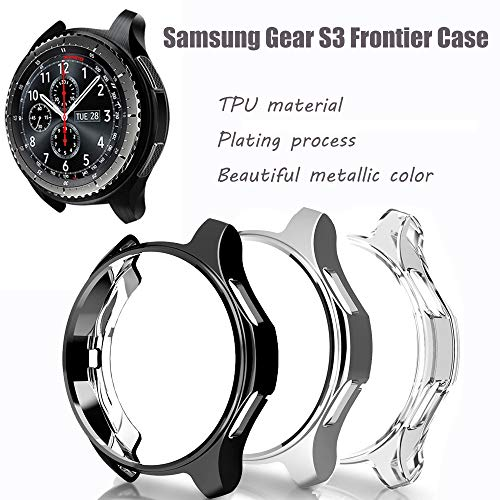 for Gear S3 Frontier SM-R760 Case,Soft TPU Fashion Metal Color Frame Shock Resistant Proof Cover Protector Shell for Samsung Gear S3 Frontier SM-R760, Galaxy Watch 46mm SM-R800 Smartwatch