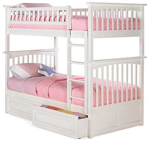 Kids Twin Panel (Columbia Bunk Bed with 2 Raised Panel Bed Drawers, Twin Over Twin, White)