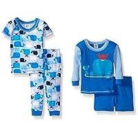 Gerber Baby Four-Piece Cotton Pajama Set, Whales, 12 Months