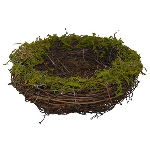 Emlyn Easter Artificial One Faux Natural Moss,Rattan and Twig Bird's Nest for Arts and Crafts