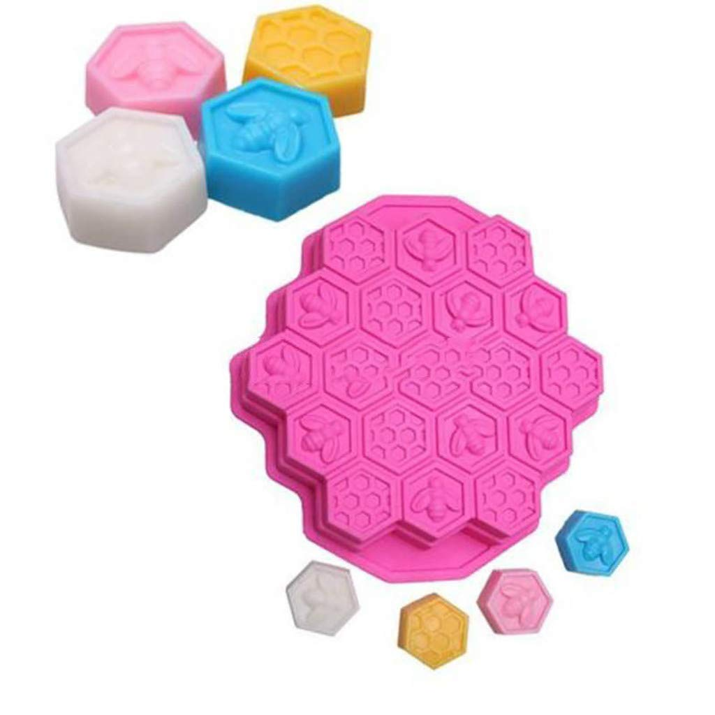 Chocolate Decoration Birthday Party Tool for Soap Candle Colmkley Cake Silicone Fondant Mold Silicone 19 Cell Bee Honeycomb Cake Chocolate Soap Candle Bakeware Mold Mould Crafting
