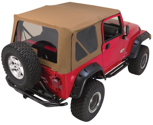 RAMPAGE PRODUCTS 99715 Factory Replacement Soft Top for 1997-2006 Jeep Wrangler TJ with Door Skins, Black Denim