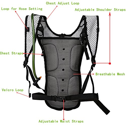 Baen Sendi Hydration Pack with 2L Backpack Water Bladder – Great for Outdoor Sports of Running Hiking Camping Cycling Skiing