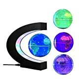 FUZADEL Multi-Color Changing Levitating Globe Magnetic Levitation Floating Globe World Map Educational Gifts for Kids / Teens Home / Office Desk Decoration Ornament