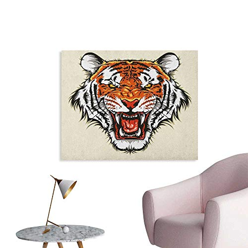 Tiger Wallpaper Angry Ready to Attack Beast with Sharp Fangs Jungle Animal Detailed Face of Hunter Cool Poster Orange Black W36 xL32 ()
