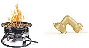 Outland Firebowl 823 Outdoor Portable Propane Gas Fire Pit, 19-Inch Diameter 58,000 BTU & Camco (22505) 90 Degree Hose Elbow- Eliminates Stress and Strain On RV Water Intake Hose Fittings, Solid Brass