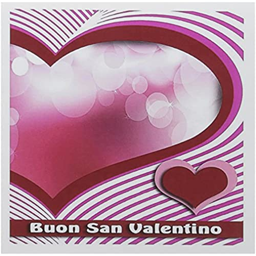 3dRose Buon San Valentino, Happy Valentines Day in Italian Heart and Bubble Greeting Cards, 6 x 6 Inches, Set Sales