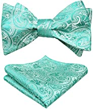 Alizeal Men's Paisley Jacquard Self Bow Tie with Hanky